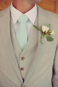 love mint tie with the gray suit for the groom