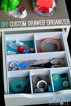 Add a pop of color and organization to those messy drawers with this DIY Drawer Organizer! Diy Drawer Organizer, Desk Organization Diy, Organization Skills, Drawer Organisers, Diy Desk, Organizing Tips, Organizers, Organising, Craft Storage Ideas For Small Spaces
