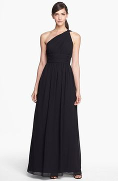 Donna Morgan 'Rachel' Ruched One-Shoulder Chiffon Gown (Regular Pia Wurtzbach Gown, Plus Size Black Dresses, Black Bridesmaid Dresses, Black Bridesmaids, Chiffon Gown, Fat Women, Nordstrom Dresses, Evening Gowns, Sexy