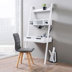 Kristina Retro Ladder Style Computer Desk In White With Storage, It makes your home office corner a real eye-catcher Features: •Kristina Retro Ladder Style Computer Desk In White With Storage ...