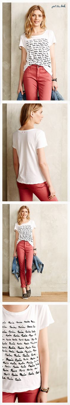 Anthropologie - Tops - front & back upper body, and full front, detail of tee on model, full story styling & h/m