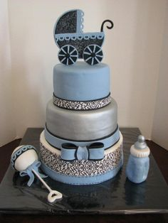 Blue gray silver baby shower