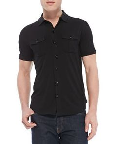 M0AER Armani Collezioni Military Button-Down Shirt, Black