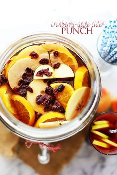 This sweet blend is made from apple cider, cranberry, orange, and lemon juices, and sparkling wine or grape juice. Garnish with apples, oranges, and dried cranberries. Get the recipe at Diethood.