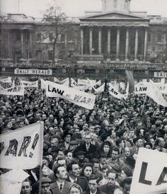 Suez crisis protest in Trafalgar Square, sponsored by the Daily Herald by the looks of things, 1956.