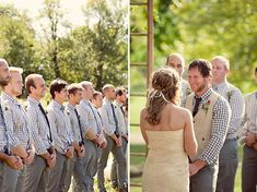 Gingham Shirts, Groom with vest.  Love the use of pattern.  Would work great with a more subtle gingham as well or using it for just a couple of the fellas.