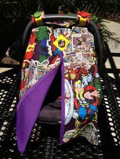 Marvel SuperHero Baby Carseat Canopy by SalgadoCreations on Etsy