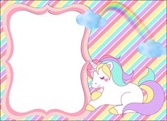 Unicorn Stationary, Unicorn Birthday Invitations, Unicorn Birthday Parties, Baptism Invitations Girl, Party Invitations Kids, Unicorn Backgrounds, Unicorn Stickers, Invitation Background, Unicorn Baby Shower