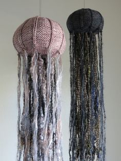 """dentonsinventions: """" I'm super excited to finally bring to you my knitting pattern for these decorative knit jellyfish! This is a simple knit that results in a wonderful, unique creature that demands..."""