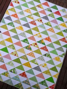 A type of quilting blocks tutorial- the half square triangle- from Knitty Bitties.