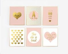 These six prints would be great for a little girls blush pink and gold nursery. Picked from some of my most popular prints along with a couple…