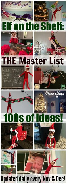 This is THE master list of ELF ON THE SHELF IDEAS to follow!!    Updated daily throughout November and December since 2009!! Find more Elf on the Shelf inspired posts on http://MamaCheaps.com!