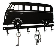 Schlüsselbrett / Hakenleiste * VW Bus T1 * - Schlüsselboard Volkswagen Transporter, Schlüsselleiste Bulli, Metall - 6 Haken schwarz (Affiliate-Link) #vanlife #Geschenkidee #Bulli #Volkswagen