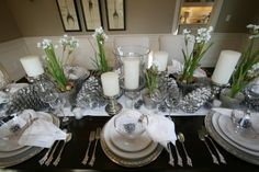 Silver, pinecones, candles