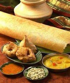 Masala Dosa, vadas and samosa and the usual accompaniments - sambhar and chutneys
