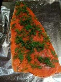 In the oven at Twenty or so minutes. I like to cover it with fresh dill, cracked black pepper, and a sprinkle of sea salt. Get Healthy, Healthy Eating, Dill Salmon, Cracked Black Pepper, Fresh Dill, Cooking Recipes, Healthy Recipes, Cooking Salmon, Fish Dishes