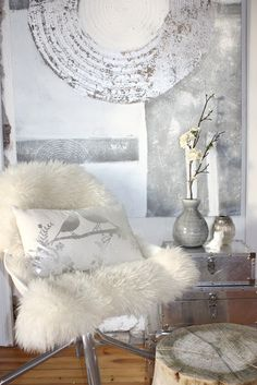 Grey/Creme/silver/ love the throw of sheepskin over a chair.....