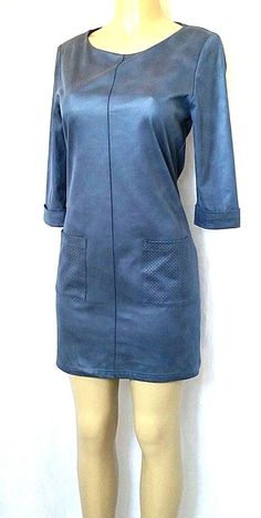 Joseph Ribkoff Blue Tunic Mini Dress Size 10 Faux Suede 3/4 Sleeve Front Pockets #JosephRibkoff #Tunic #Casual