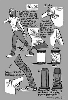 """Character Design References - """"Drawing Tips: Folds"""" Drawing Skills, Drawing Lessons, Life Drawing, Drawing Techniques, Drawing Tips, Figure Drawing, Shirt Drawing, Drawing Ideas, Fabric Drawing"""