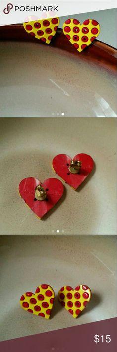 Handmade heart button earrings Super adorable handmade red and yellow heart button earrings. 21.5mm high, 24mm wide. Jewelry Earrings