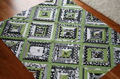 Black white and green string quilt by Film in the Fridge