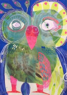 The vibrant, quirky paintings of Jessie Breakwell Kunstjournal Inspiration, Art Journal Inspiration, Kids Art Class, Art For Kids, Owl Doodle, Owl Artwork, Children Sketch, Draw On Photos, Doodle Patterns