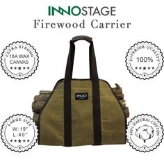 "Amazon.com: INNOSTAGE Waxed Canvas Log Carrier Tote Bag,40""X19"" Firewood Holder,Fireplace Wood Stove Accessories: Home & Kitchen"