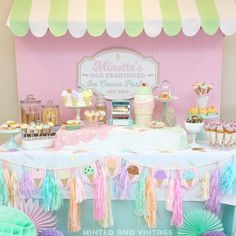 Pastel perfection for this old fashioned #icecreamparlour #party by @mintedandvintage Love the colours #mintedandvintage