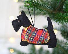 Scottie dog Christmas ornament Felt dog ornament Black Hanging Ornaments, Felt Ornaments, How To Make Ornaments, Dog Christmas Ornaments, Plaid Christmas, English Christmas, Felt Dogs, Scottie Dog, Handmade Felt