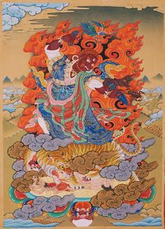 Tibetan Art, Tibetan Buddhism, Buddhist Art, Thangka Painting, Japanese Tattoo Art, Indian Folk Art, Irezumi, 2d Art, Sacred Art
