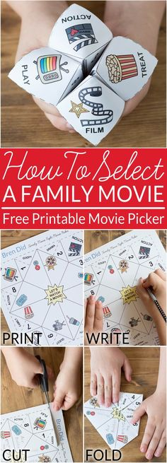 How to Select a Movie Your Family Will Love - Have you ever tried to select a movie to watch with assistance from children? This movie selector makes movie night a lot more fun. Print out the free movie selector, have each child add a few of their favorit Family Movie Night, Family Movies, Family Games, Family Family, Kino Theater, Activities For Kids, Crafts For Kids, Cadeau Surprise, Movie Night Party