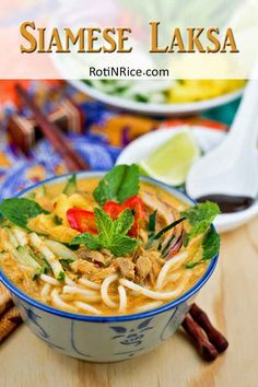 This super tasty Siamese Laksa a. Lemak Laksa has all the deliciousness of asam laksa and the creaminess of curry laksa. Easy Rice Recipes, Noodle Recipes, Spicy Recipes, Curry Recipes, Seafood Recipes, Asian Recipes, Cooking Recipes, Drink Recipes, Ethnic Recipes