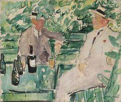 """thunderstruck9: """"Arne Kavli (Norwegian, 1878-1970), Two Men in a Garden, 1919. Oil on canvas, 65 x 76 cm. """""""