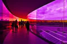 "visit ""Your Rainbow Panorama"" by Icelandic artist Olafur Eliasson atop the ARoS art museum in Aarhus, Denmark. Aarhus, Glass Walkway, Icelandic Artists, Olafur Eliasson, Pedestrian Bridge, Construction, Deco Design, Rainbow Bridge, Adventure Is Out There"