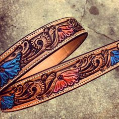 "246 Likes, 3 Comments - Clayton Kinney (@cdk_leather) on Instagram: ""Love this belt! #custombelt #paintedbelt #floral #flowers #handmade #handdrawn"""