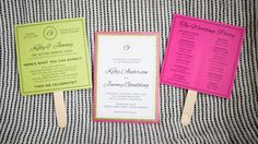 pink, lime green, glitter, pocket wedding invite