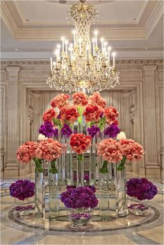 Inspiration for an entrance to a grand wedding ~ Jeff Leatham Deco Floral, Arte Floral, Hotel Flower Arrangements, Flower Decorations, Wedding Decorations, Jeff Leatham, Hotel Flowers, Floral Centerpieces, Large Flowers