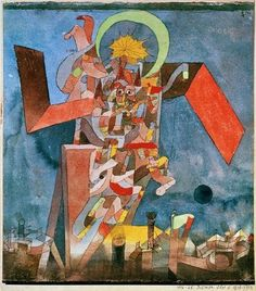 """Paul Klee / 'Demon above the Ships', 1916, Watercolor and ink on paper with ink border on board  9 3/8 x 8 1/8"""""""