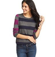 Mixed Stripe 3/4 Sleeve Sweater - Kissed with angora for a touch of luxe, we love the vibrant striped motif of this casually amazing go-to. Crew neck. 3/4 sleeves. Ribbed neckline, cuffs and hem. Button placket at back neck.