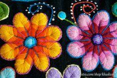 Fundas de almohada peruano mano bordadas flores de lana por khuskuy