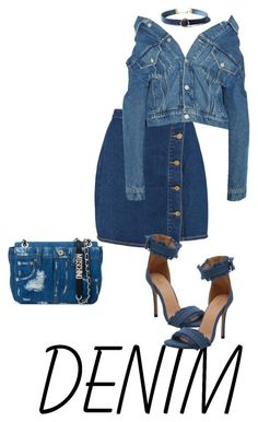 """Denim Down"" by blackqueencouture on Polyvore featuring Boohoo, Balenciaga, Moschino and WithChic"