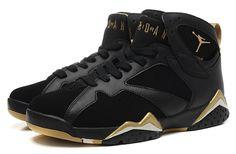 Nike Air Jordan 7 Retro Black Gold Men Shoes