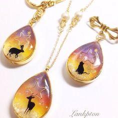 Sunset animal resin brooches by Lankpton 制作状況 の画像|Lankpton レジンアクセサリー …