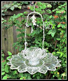 Vintage Glassware Bird Feeder Garden by GardenWhimsiesByMary, $30.00 Hung by the handles of the sugar bowl.