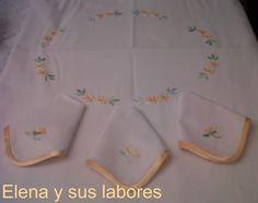 Mantel bordado a punto de realce. http://elenaysuslabores.blogspot.com.es/.
