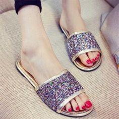 Peep Toe Slip On Bling Flat Sandals Causal Slippers