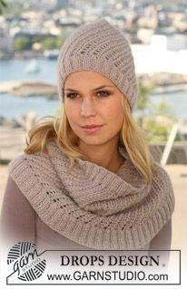 """DROPS - Set comprises: Knitted DROPS hat and neck warmer with lace pattern in """"Alpaca"""" and """"Kid-Silk"""". - Free pattern by DROPS Design Knitting Patterns Free, Free Knitting, Free Pattern, Crochet Patterns, Knitting Hats, Drops Design, Easy Knit Hat, Magazine Drops, Knit Crochet"""