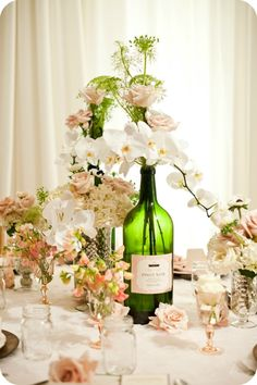 wine bottle centerpieces for wedding   Engaged Now What? Photo Shoots Archives - EngagedNowWhat.com