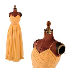 Vintage 1960's Sheer Peach Chiffon Grecian Pleated Iridescent Sequin Long Cocktail Party Prom Dress XS