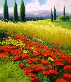 """Gerhard Nesvadba """"Explosions of Poppies"""" - Featured Artist - Vinings Gallery Landscape Artwork, Watercolor Landscape, Watercolor Art, Scenery Pictures, Nature Paintings, French Paintings, Acrylic Art, Beautiful Landscapes, Champs"""